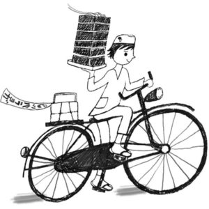 蕎麦出前自転車イラスト